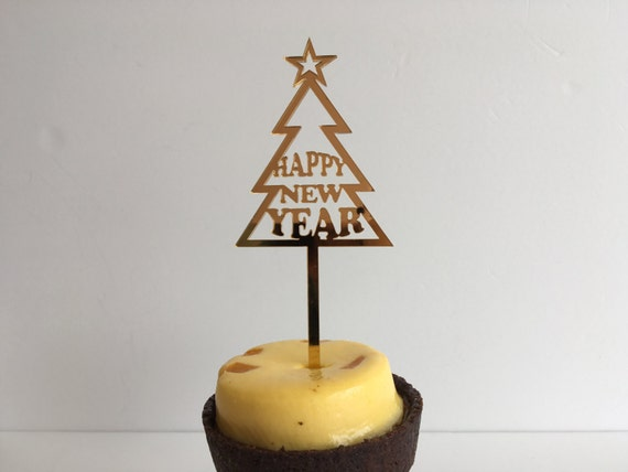 Personalized Christmas Tree Ornament Custom Cake Topper Happy New Year Small New Year Gift Celebration 2017 Party decorations New Year's Eve