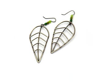 Extra Large Sterling Silver Leaf Earrings with Green Glass Beads, Botanical Jewelry, Minimal Statement Earrings, Silver Beaded Earrings