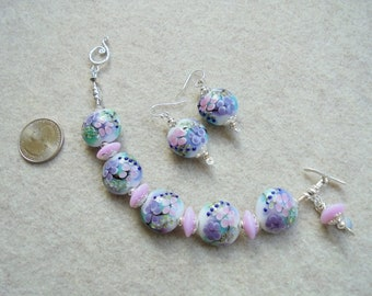 Pink and Lavender Lampwork Glass and Sterling Silver Floral Flowers Beaded Bracelet and Earrings set - Handmade