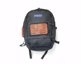 Vintage Jansport 2 in 1 Backpack Top Handle Tote Bag Black Brown Leather Nylon Messenger Shoulder Bag Briefcase Overnight Ruck Sack Gift