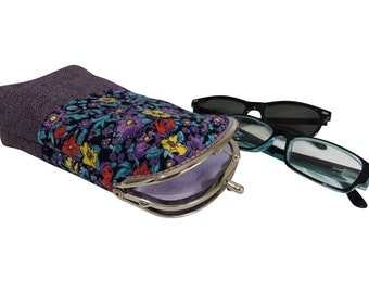 Purple Eyeglasses Case Double Pockets, Sunglasses / Reading Case, Upholstery fabric, Silver Frame