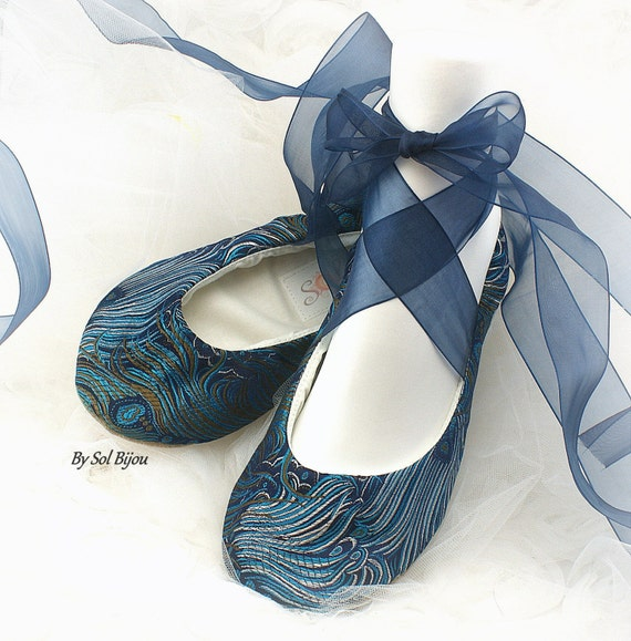 ballerina shoes for wedding wedding ballet shoes peacock navy blue turquoise bridal ballet 1464