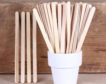 Flat Wooden Lollipop Sticks, Beverage Stirrers, Drink Stirrers, Hot Cocoa Stirrers, Coffee Stirrers, Skinny Popsicle Sticks (50)