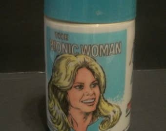 1978 The Bionic Woman Jaime Sommers Powder Blue And White Plastic AladdinThermos  Badly Crushed Broken Plastic  Corner On Thermos Bottom