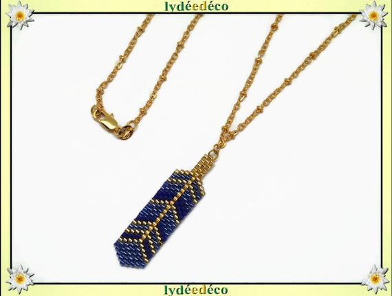 Necklace plated 18 k blue purple Gold feather weaving beads ball chain