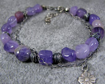 Amethyst Bracelet, Oxidized Sterling Silver Bracelet, Raw Silver Bracelet, Rough Silver Bracelet, Silver Chain Bracelet, Gift for Her