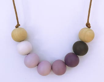 ombre purple painted wooden bead necklace
