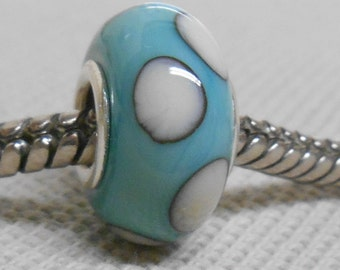 Handmade Lampwork Bead European Charm Bead Copper Green with Ivory Dots Silver Cored