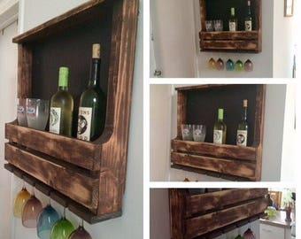 Chalk board pallet wine rack