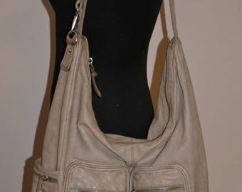 Vintage taupe leather bag