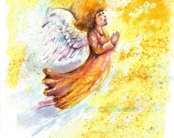 Angel original painting Angel Art angel watercolour painting Angel Wall art Decor kids room decor home decor god religious painting