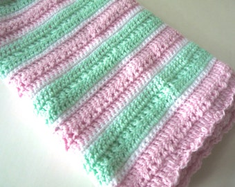 Pink green and white baby girl blanket