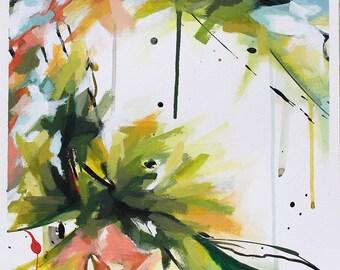 Peinture abstraite à l'acrylique, fleurs jaunes et oranges, Tableau contemporain unique, oeuvre d'art originale