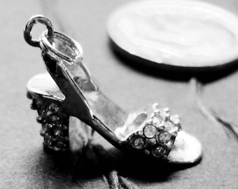 1 Adorable STERLING Silver and Crystal High Heel SHOE CHARM -  14mm High  x 15mm Length
