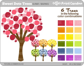 70% OFF SALE! - Sweet Dots Trees - Digital Clip Art - Personal and Commercial Use- modern chic tree nursery wall