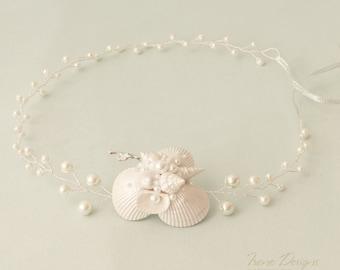 Pearl white beach wedding head circlet. Beach Wedding Headband. Bridal Seashell Circlet. Mermaid Headband. Beach Wedding Head Circlet