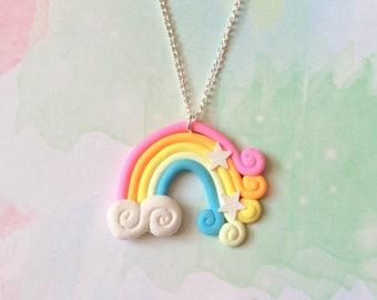 Rainbow Necklace, kids jewellery, rainbow jewelry, kawaii charm, kawaii necklace, fairy kei necklace, pastel goth choker necklace, cute gift