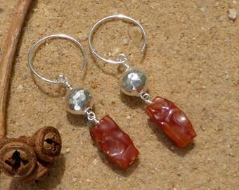 Carnelian Earrings Hill Tribe Silver Sterling Silver Rustic Artisan Organic Gemstone Jewellery Boho Style Designer Unique Boho Long Earrings
