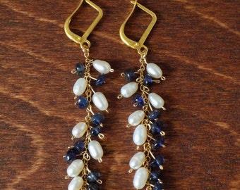 Pearl & Iolite gold earrings - gemstone earrings - gemstone jewelry - exotic jewelry
