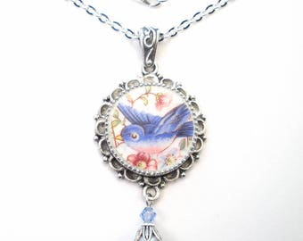 Broken China Necklace Bluebird of Happiness Pendant Handcrafted Jewelry by Charmedware