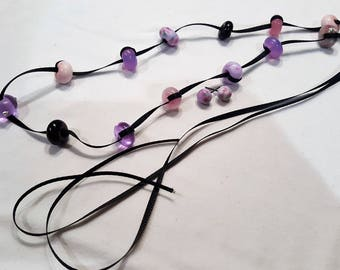 Long Purple Necklace and Earring Set