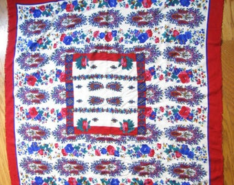 Vintage Italian Floral Red Square Scarf by Jacqueline Ferrar
