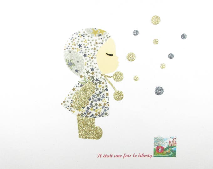 Applied fusible little girl and bubbles fabric Adelajda Brown glitter flex fusible liberty applique iron on patch