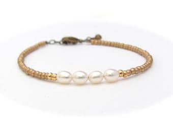 SALE Freshwater Pearl Bracelet Seed Bead Bracelet, Gold Minimal Friendship Bracelet, June Birthstone, Hawaiian Jewelry Miss Ceces Jewels