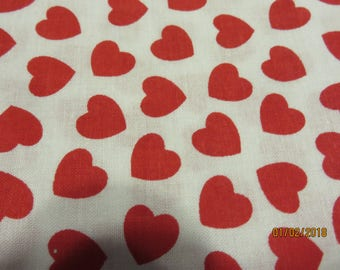 Red Hearts on White Background    -Fabric-Priced Per 1/2 Yd-   Free Shipping