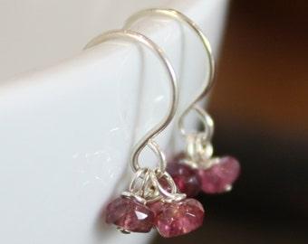 Sterling Silver Earrings - Three Gemstones - Choose Your Birthstone