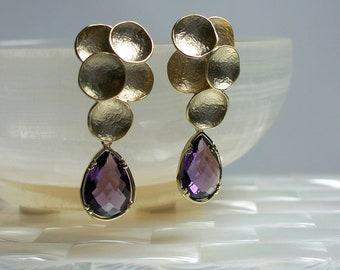 Gold Earrings, Amethyst Earrings, Purple Earrings, Drop Earrings, Glass, CZ Earrings, Fashion Jewelry, Jewellery, Textured Earrings
