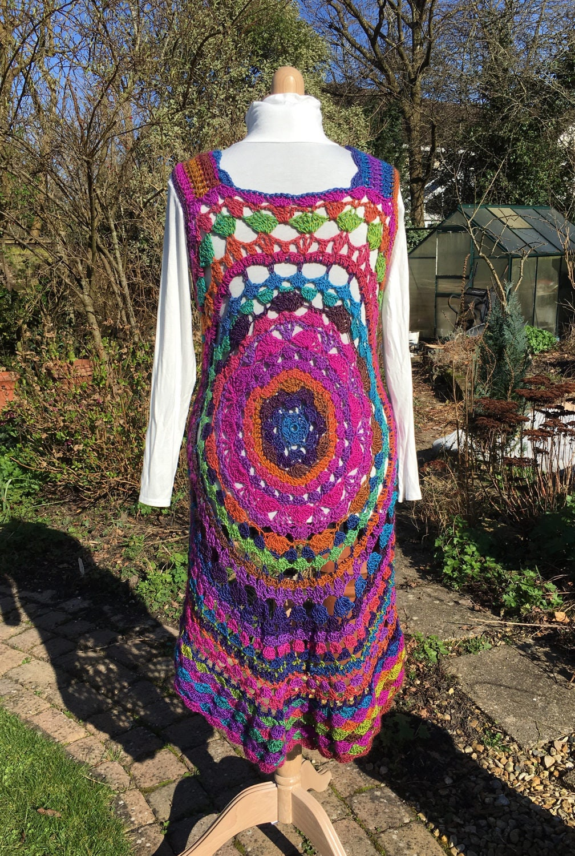 Häkeln Sie Mandala Dreamcatcher Weste Jacke Regenbogen Weste