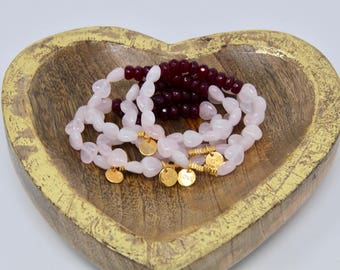 Elastic Stretchy Jade Rose Quartz  Love Charm Bracelet