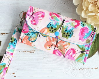 Women's wallet in Colorful Butterfly, Clutch Wristlet wallet,  Ladies Handmade fabric wallet, Accordion wallet,  iphone wallet