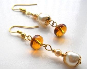 Swarovski Pearl Earrings, Dangle Earrings, Brown Glass Earrings, Swarovski Elements, Pearl Dangle Earrings, Gift for Her