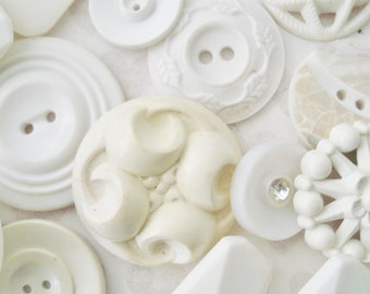 Assorted White Buttons - 35+ Vintage Ivory and White Plastic Buttons - Fancy Cream and White Buttons Mix - White Pierced Buttons