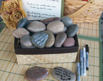 Wishing Stones - Unique Special Occasion or Wedding Guest Book Alternative - Guestbook  (set of 150)