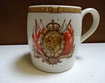 British Potteries Porcelain Mug/Cup/Commemerating King George V & Queen Mary Silver Jubilee May 1935/Royal Souvenir/CollectableVintage/1935