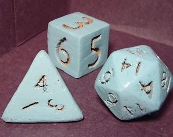 Dice Set | Vintage Blue Wood Grain Dice Set 3D Printed D% D4 D6 D8 D10 D12 D20 up to 7 piece set