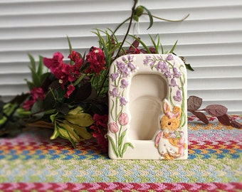 Vintage Made in Japan Ceramic Photo Frame with Bunny, Tulips, and Bluebell Flowers