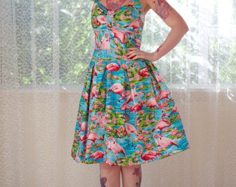 """1950's Rockabilly """"Holly"""" Dress with Pink Flamingos, Pleats, Ric Rac trim and Gathered Front - Custom made to fit"""