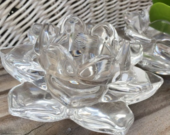 VINTAGE DECOR...set of 2 glass candle holders ~ Mikasa flower accents ~ flower arrangement decor ~ wedding supplies