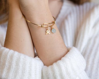 Personalized Birthday Gift, March Birthstone and Initial Bangle Bracelet, Monogram Gift, Gift for Best Friend, Raw Crystal, Gold Initial