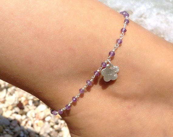 Rosary Amethyst Anklet, Silver Anklet, Amethyst Anklet, Bridesmaid Gift, Wedding Anklet, Gemstones Ankle, Delicate Anklet