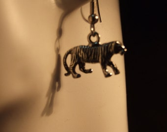 Tiger earrings made with Australian Pewter and Surgical Steel hook
