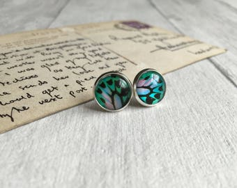 Green blue butterfly earrings, statement jewelry bug jewellery, butterfly post earrings, pretty earrings 21st birthday gift 30th birthday