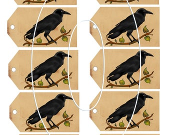 Primitive Grungy Crow Hang Tags Printable Digital JPEG File Instant Download Prim Dolls Gifts Scrapbooking Crafts