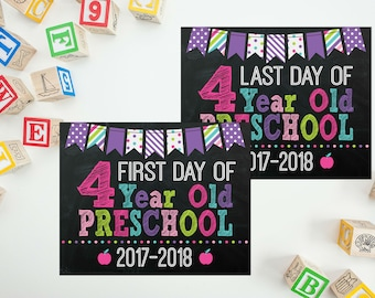 First Day of 4 Year Old Preschool Sign - Girls Back to School - Last Day of School - First Day Back To School - 4 Year Old School Printable