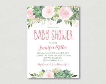 Pink Floral Succulent Baby Shower Invitation / Floral Baby Shower / Succulent Baby Shower / Blush Pink Floral / PRINTABLE A464