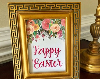 Happy Easter Art Print - Floral Easter Sign - Easter Brunch - Spring - 5x7 or 8x10